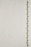 Texture of Beige Linen Fabric with Embroidery. Stock Photos