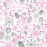 Texture of the berries and snowflakes. Seamless pattern of bright berries, snowflakes and birds on a white background Royalty Free Stock Photos