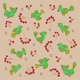 Texture. Birds_berries. vector illustration