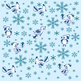 Texture. Birds and snowflakes. vector illustration