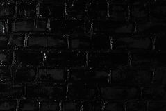 Texture of a black brick wall. Background of black brick texture wall Stock Photography