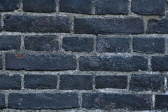 Texture of a black burnt brick wall covered with soot Stock Images