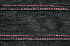 The texture of black denim cloth Stock Photography