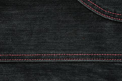 The texture of black denim cloth Stock Images