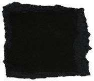 Fiber Paper Texture - Black with Torn Edges Royalty Free Stock Image