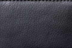 Texture Black leather bag. Production of worldwide sales stock images
