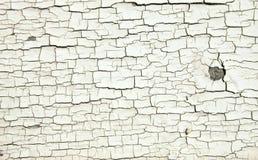 Texture blanche criquée de peinture sur le vieux bois Images stock