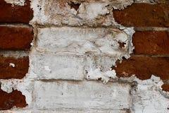 Texture blanche et rouge sale de mur de briques Photos libres de droits