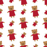 Texture blanche sans fin avec Brown Teddy Bears Images stock