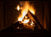 Texture of a blazing fire in the fireplace. Stock Images
