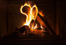 Texture of a blazing fire in the fireplace. Stock Image
