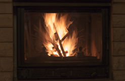 Texture of a blazing fire in the fireplace. Royalty Free Stock Photos