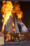 Texture of a blazing fire in the fireplace. Royalty Free Stock Images