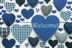 Texture bleue de coeur avec l'accueil Image libre de droits