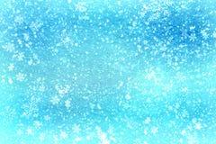 Texture bleue de neige de fond de Noël, abstraction, flocons de neige Images libres de droits