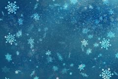 Texture bleue de neige de fond de Noël, abstraction, flocons de neige Photo stock