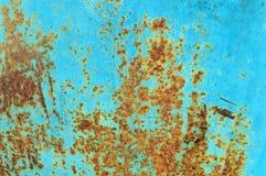 Texture bleue de surface métallique d'aqua de rouille et de grunge Images libres de droits