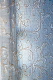 Texture of blue curtain. Floral detail texture of blue curtain Stock Image