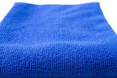 Texture of Blue dry micro fiber cloth. stock image