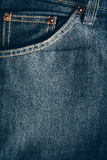Texture of blue jeans background with bag. Royalty Free Stock Images