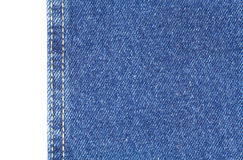 Texture of blue jeans fabric isolated on white Royalty Free Stock Image