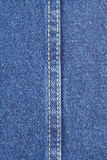 Texture of blue jeans fabric with stitch. Texture of blue jeans fabric with yellow double stitching in center Royalty Free Stock Images