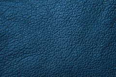Texture of blue painted leather. stock photo