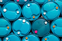 Texture blue plastic oil tank Stock Photos