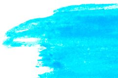Texture of blue watercolor paint on white paper. Rectangular watercolour background. royalty free stock images