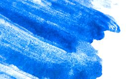 Texture of blue watercolor paint on white paper. Watercolour background. stock image
