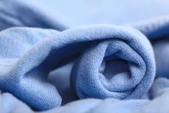 Texture  blue wool sweater Stock Photos