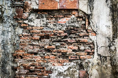 Texture of Break the old brick walls inside. Stock Photos