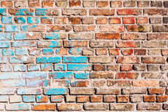 The texture of the brick wall, painted with old paint. Stock Photo