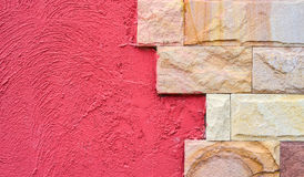 Texture of brick wall and red wall Stock Image