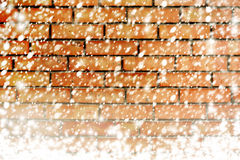 Texture of brick wall with white snow flakes Royalty Free Stock Photography