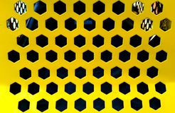 Texture of bright yellow hexagon metal plate Stock Image