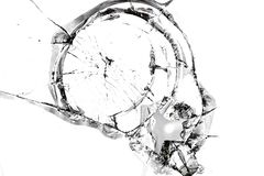 Texture of broken glass. Broken window glass. Chipped automotive glass. Cracks on the mirror. Isolated on white background. For photomontage and collage royalty free stock images
