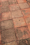 Texture of brown brick on walk way Royalty Free Stock Photos