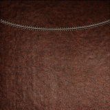 Texture of brown leather background with stitched seam, close-up. Stock Image