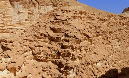 Texture of a brown weathered rock in the desert. In bright day Stock Image