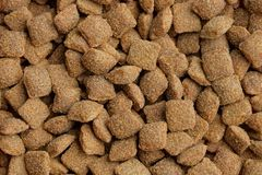 Texture brune naturelle des aliments pour chats carrés secs photo stock