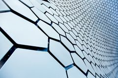 Texture of the building Soumaya in the form of a honeycomb. Modern architecture and the Museum building in the centre of Mexico city Stock Images