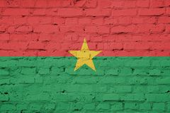 Flag of Burkina Faso texture. Texture of Burkina Faso flag on a pink brick wall royalty free stock images