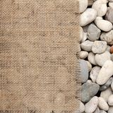 Texture of  Burlap fray on river rock Royalty Free Stock Photo