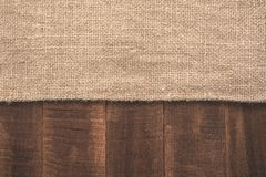 Texture of the burlap and wood Stock Photo