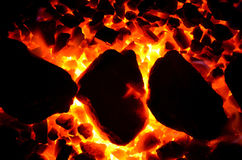 Texture of burning coal. Royalty Free Stock Image