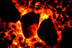 Texture of burning coal. Stock Images