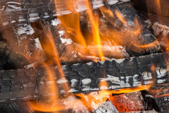 Texture of  burning flame of fire coal firewood. Stock Image