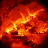 Texture of burning wood charcoal and flames close up Royalty Free Stock Photo