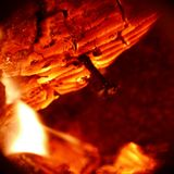 Texture of burning wood charcoal and flames Stock Image
